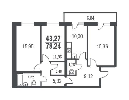 Планировка Трёхкомнатная квартира площадью 78.24 кв.м в ЖК «Граффити»