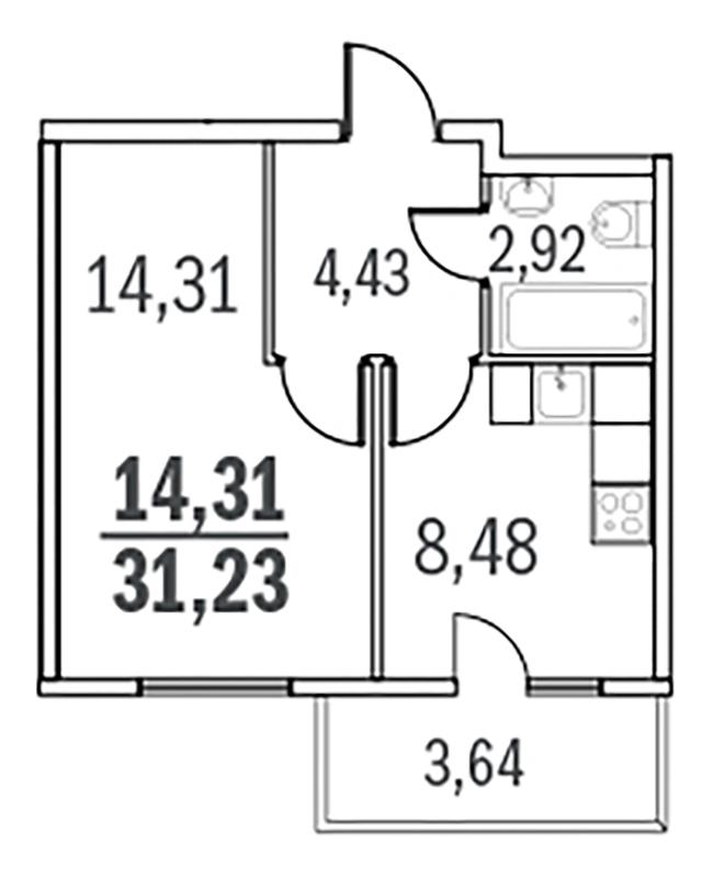 Планировка Однокомнатная квартира площадью 31.23 кв.м в ЖК «Граффити»