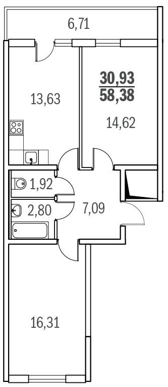 Планировка Двухкомнатная квартира площадью 57.3 кв.м в ЖК «Граффити»