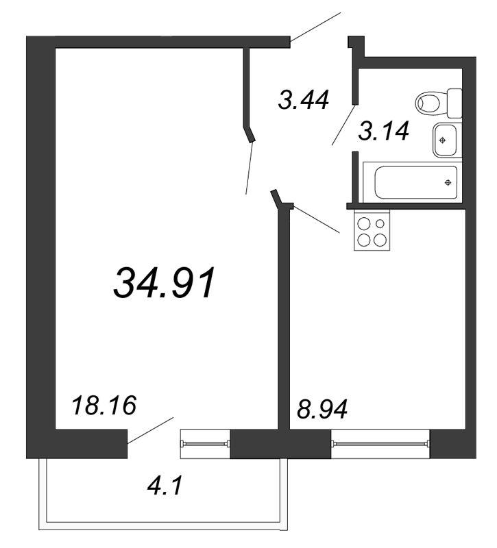 Планировка Однокомнатная квартира площадью 34.91 кв.м в ЖК «Граффити»