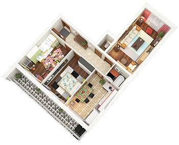 Планировка Трёхкомнатная квартира площадью 73.8 кв.м в ЖК «Граффити»