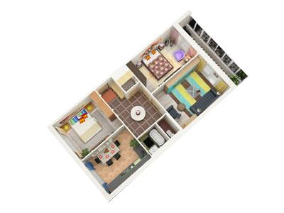 Планировка Трёхкомнатная квартира площадью 72.62 кв.м в ЖК «Граффити»