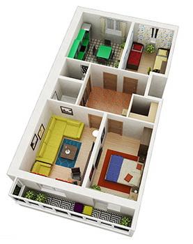 Планировка Трёхкомнатная квартира площадью 71.2 кв.м в ЖК «Граффити»