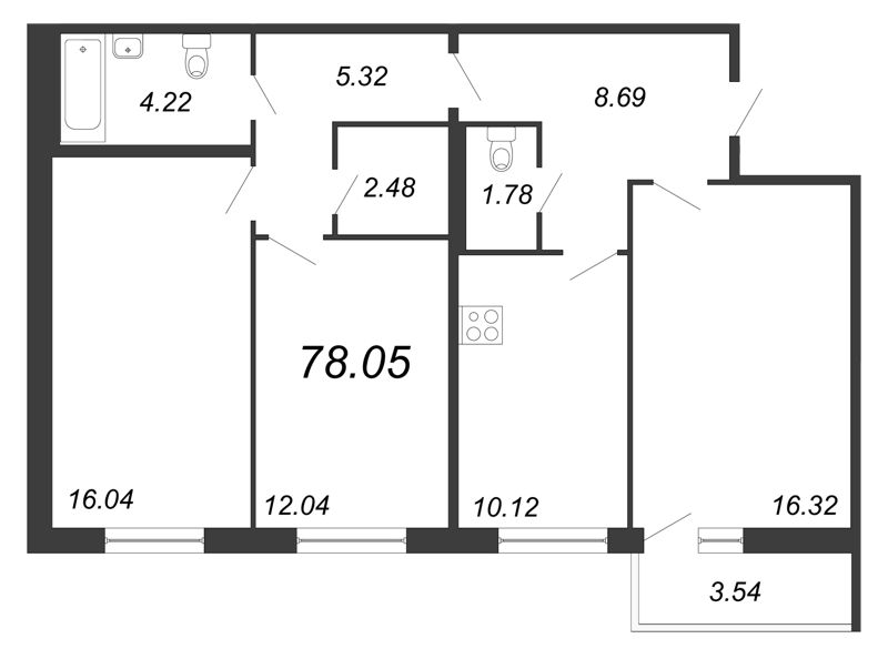 Планировка Трёхкомнатная квартира площадью 78.05 кв.м в ЖК «Граффити»