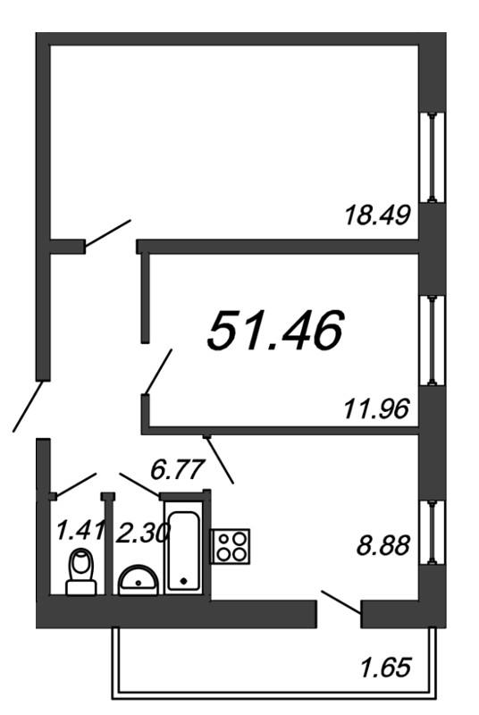 Планировка Двухкомнатная квартира площадью 51.46 кв.м в ЖК «Граффити»