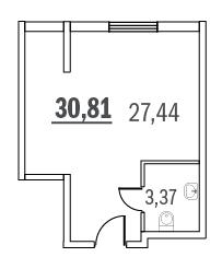 Планировка Коммерческое помещение площадью 30.81 кв.м в ЖК «Граффити»