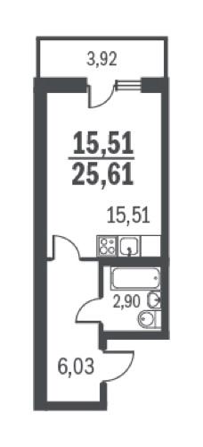 Планировка Однокомнатная квартира площадью 25.61 кв.м в ЖК «Граффити»