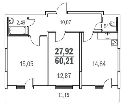 Планировка Двухкомнатная квартира площадью 60.21 кв.м в ЖК «Граффити»