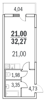 Планировка Однокомнатная квартира площадью 31.7 кв.м в ЖК «Граффити»