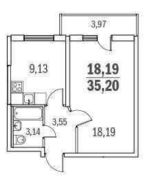 Планировка Однокомнатная квартира площадью 35.2 кв.м в ЖК «Граффити»