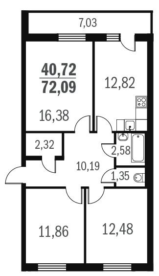 Планировка Трёхкомнатная квартира площадью 71.1 кв.м в ЖК «Граффити»