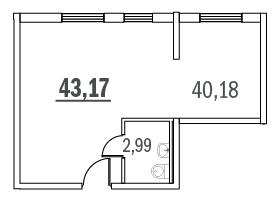 Планировка Коммерческое помещение площадью 43.17 кв.м в ЖК «Граффити»