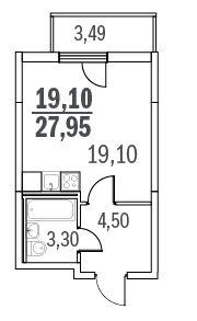 Планировка Однокомнатная квартира площадью 28.1 кв.м в ЖК «Граффити»