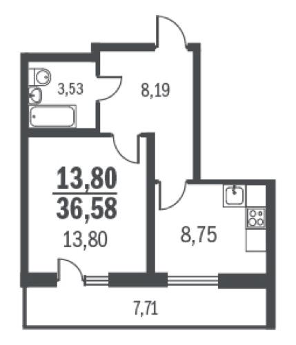 Планировка Однокомнатная квартира площадью 36.58 кв.м в ЖК «Граффити»