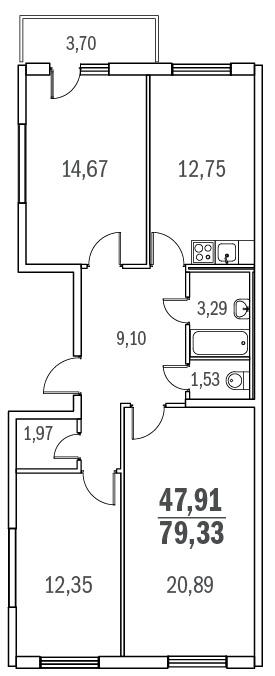 Планировка Трёхкомнатная квартира площадью 79.33 кв.м в ЖК «Граффити»