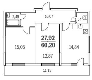 Планировка Двухкомнатная квартира площадью 60.2 кв.м в ЖК «Граффити»