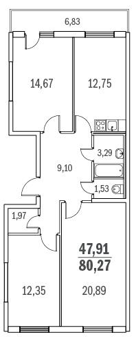 Планировка Трёхкомнатная квартира площадью 80.27 кв.м в ЖК «Граффити»
