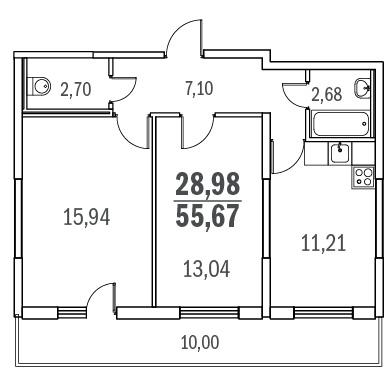 Планировка Двухкомнатная квартира площадью 55.67 кв.м в ЖК «Граффити»
