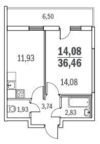 Планировка Однокомнатная квартира площадью 36.46 кв.м в ЖК «Граффити»