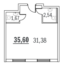 Планировка Коммерческое помещение площадью 35.6 кв.м в ЖК «Граффити»
