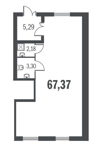 Планировка Коммерческое помещение площадью 67.37 кв.м в ЖК «Граффити»