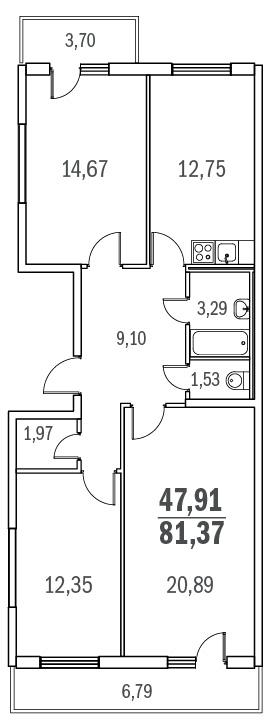 Планировка Трёхкомнатная квартира площадью 81.37 кв.м в ЖК «Граффити»
