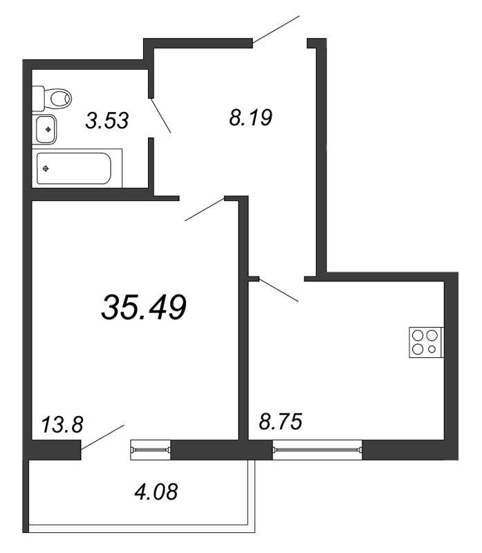 Планировка Однокомнатная квартира площадью 35.49 кв.м в ЖК «Граффити»