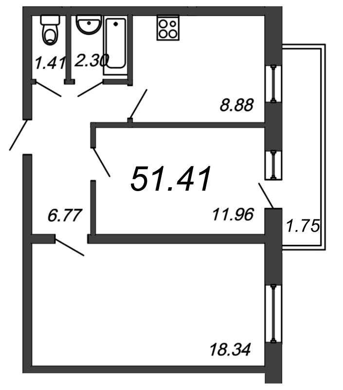 Планировка Двухкомнатная квартира площадью 51.41 кв.м в ЖК «Граффити»