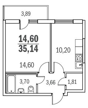 Планировка Однокомнатная квартира площадью 35.14 кв.м в ЖК «Граффити»