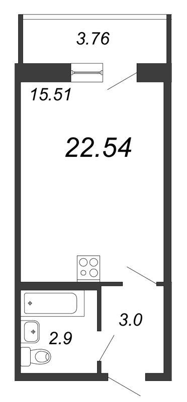 Планировка Студия площадью 22.54 кв.м в ЖК «Граффити»
