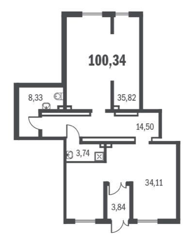 Планировка Однокомнатная квартира площадью 100.34 кв.м в ЖК «Граффити»