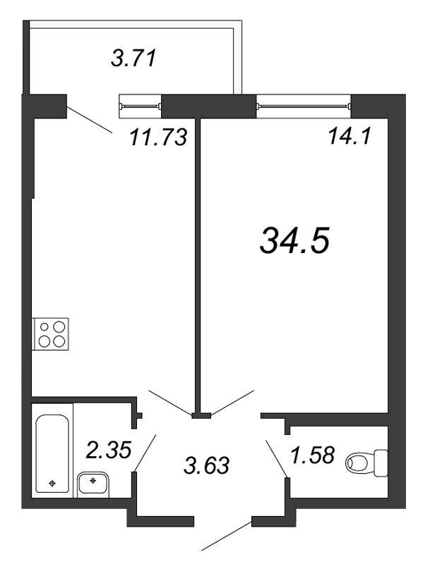 Планировка Однокомнатная квартира площадью 34.5 кв.м в ЖК «Граффити»