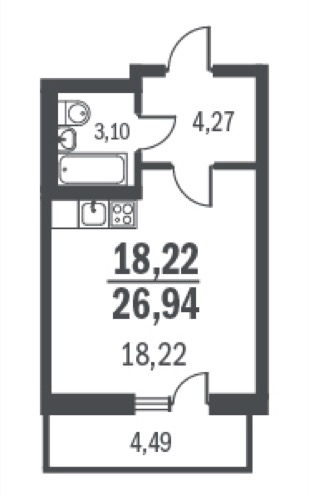 Планировка Однокомнатная квартира площадью 26.94 кв.м в ЖК «Граффити»