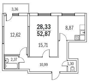 Планировка Двухкомнатная квартира площадью 52.87 кв.м в ЖК «Граффити»
