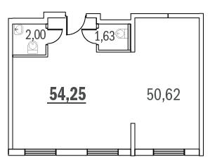 Планировка Коммерческое помещение площадью 54.25 кв.м в ЖК «Граффити»